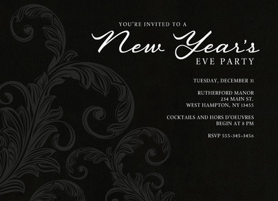 Black Damask New Year's Invitation 7x5 Flat Card