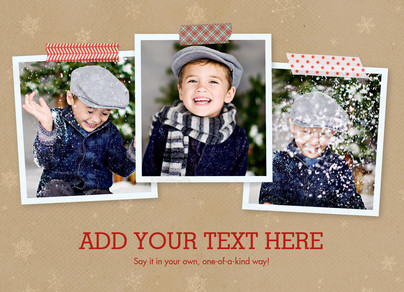 Your Message with Snowflakes & Washi Tape 7x5 Flat Card