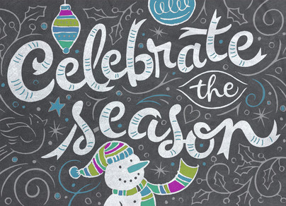 Celebrate the Season Chalkboard Art 7x5 Folded Card
