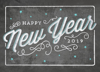 Happy New Year Chalkboard Art 7x5 Folded Card