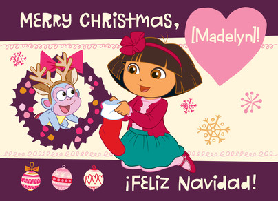 Christmas Dora & Boots 7x5 Folded Card