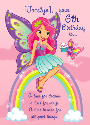 Birthday Fairy on a Rainbow 5x7 Folded Card
