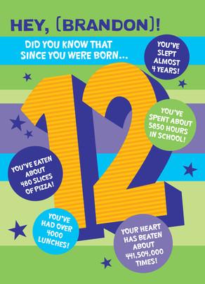 Big 12 with Fun-facts 5x7 Folded Card