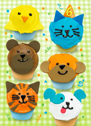 6th Birthday Animal Cupcakes 5x7 Folded Card