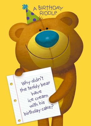 Birthday Teddy Bear Riddle 5x7 Folded Card