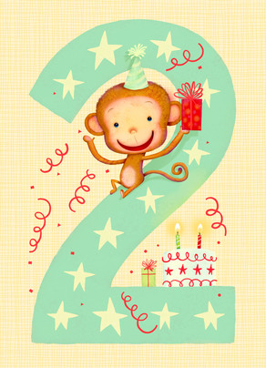 Big 2 with Cute Monkey 5x7 Folded Card
