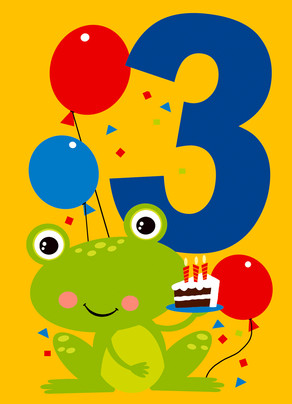 Big 3 with Frog and Balloons 5x7 Folded Card