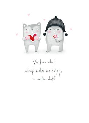 Cute Critters in Love 5x7 Folded Card