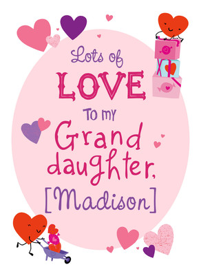 Granddaughter valentine with hearts valentines day card cardstore granddaughter valentine with hearts 5x7 folded card m4hsunfo