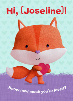 Valentine's Fox with Heart 5x7 Folded Card