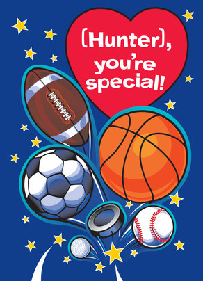 Sports-kids Valentine 5x7 Folded Card