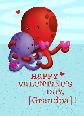 Valentine's Octopuses 5x7 Folded Card