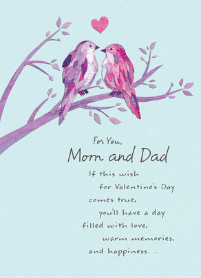 Two Birds Valentine - Mom and Dad 5x7 Folded Card