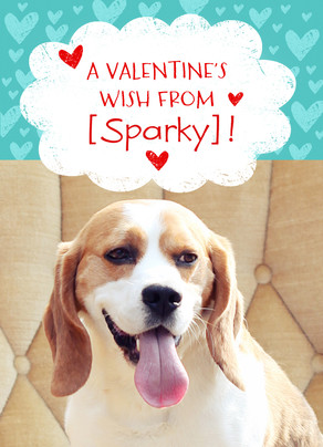 photo valentine from the dog 5x7 folded card - Dog Valentines Day Cards