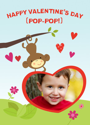 Monkey Holding Heart Frame 5x7 Folded Card