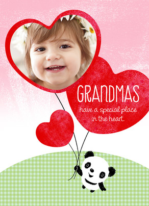 Panda with Heart-frame Balloon 5x7 Folded Card