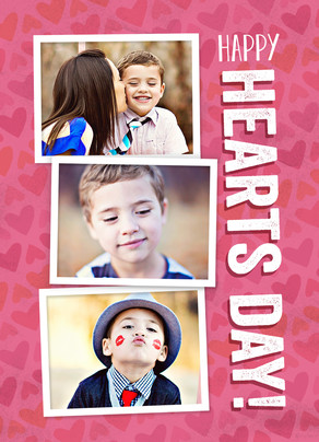 Happy Hearts Day with 3 Photos 5x7 Folded Card