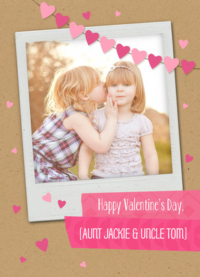 Instant Photo with Heart Banner 5x7 Folded Card