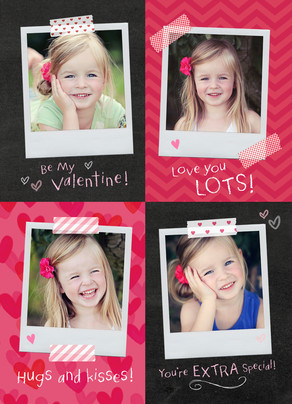 School Valentines with Instant-photos 5x7 Flat Card