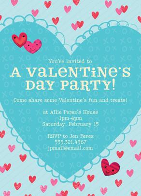 Valentine's Day Party Invitation 5x7 Flat Card