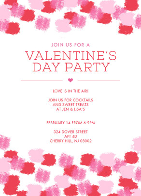 Valentine's Party Invite with Paint Pattern 5x7 Flat Card