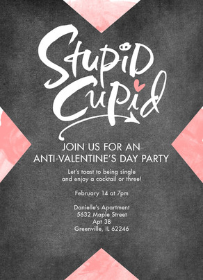 Stupid Cupid - Anti-Valentine's Invitation 5x7 Flat Card
