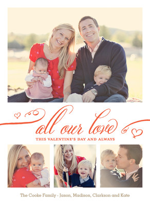 All Our Love - Script with 4 Photos 5x7 Flat Card