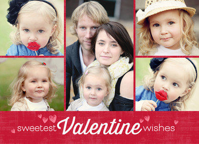 Sweetest Valentine Wishes 7x5 Folded Card