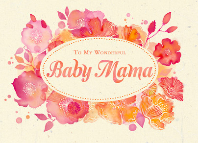 Baby Mama   Watercolor Floral 7x5 Folded Card