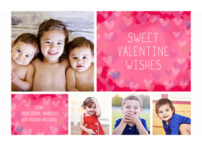 Sweet Valentine Wishes with Heart Pattern 7x5 Flat Card