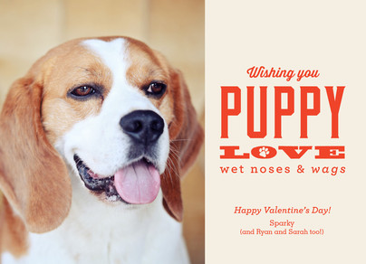 puppy love valentine from the dog 7x5 flat card - Dog Valentines Day Cards