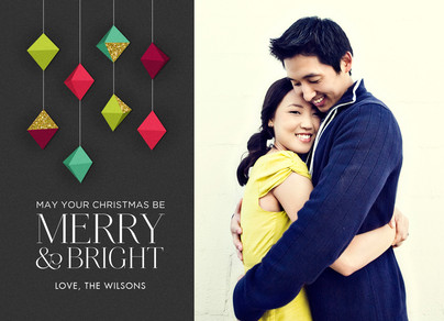 Merry & Bright Geometric Ornaments 7x5 Flat Card