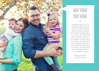 Holiday Family Update on Teal 7x5 Flat Card