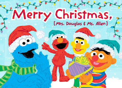 Cookie, Elmo, Bert & Ernie Christmas 7x5 Folded Card
