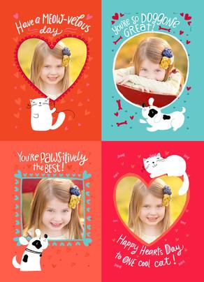 School Valentine Kittens and Puppies 5x7 Flat Card