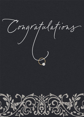 Congratulations Script with Ring 5x7 Folded Card