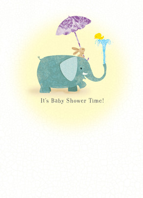Elephant, Ducky and Bunny Shower 5x7 Folded Card