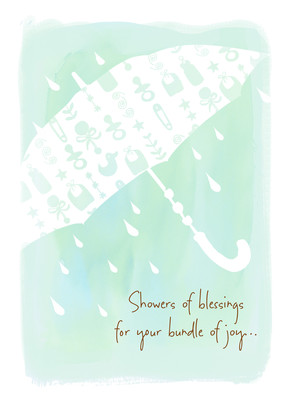 Showers of Blessings with Watercolor Umbrella 5x7 Folded Card