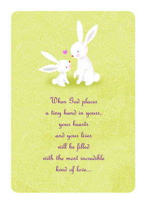Baby Congrats Bunnies 5x7 Folded Card