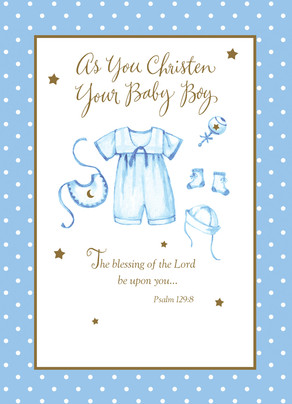 Baby Boy Christening Outfit 5x7 Folded Card