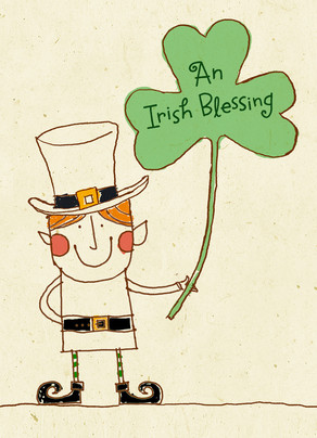 Line Art Leprechaun with Shamrock 5x7 Folded Card