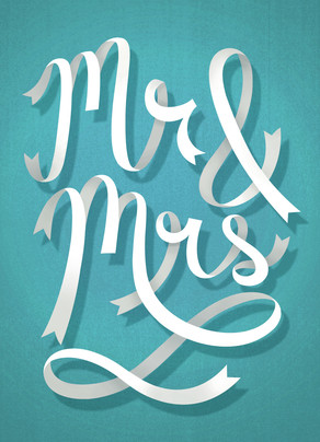 Mr. & Mrs. Ribbon Lettering 5x7 Folded Card