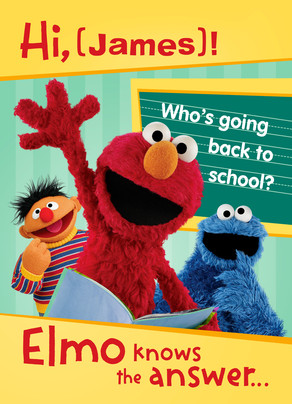 Back to School with Elmo 5x7 Folded Card