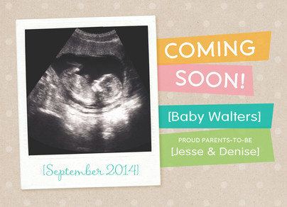 Coming Soon Baby Announcement 7x5 Flat Card