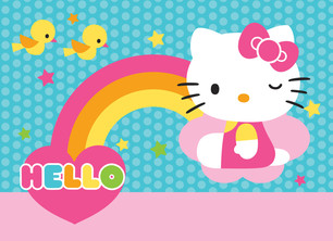 Hello Kitty Note Card with Rainbow and Dots 5.25x3.75 Folded Card