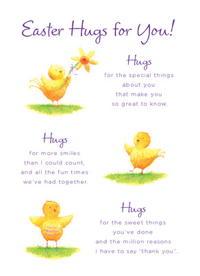 Easter Chicks and Hugs 5x7 Folded Card