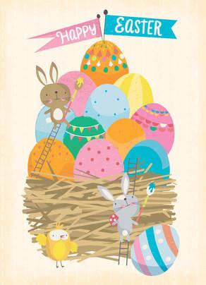 Nest Full of Easter Eggs 5x7 Folded Card
