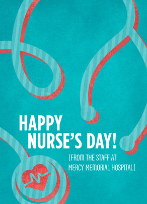 Nurse's Day Stethoscope 5x7 Folded Card