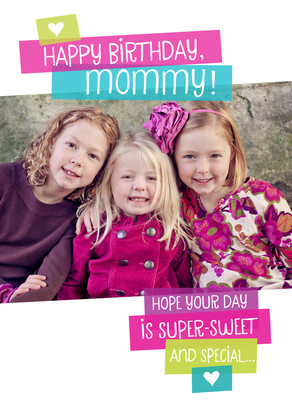 Mommy Birthday with Magenta 5x7 Folded Card