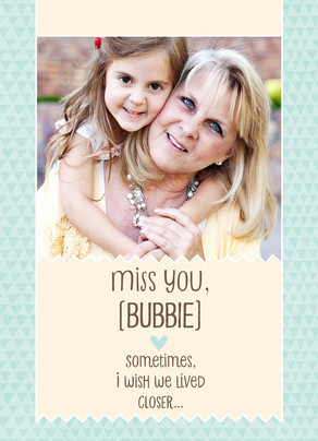 Miss You - Photo with Teal Pattern 5x7 Folded Card